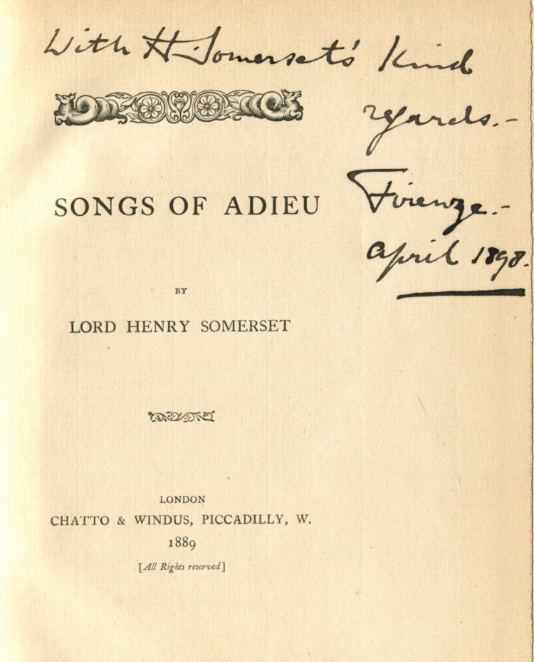 Songs of Adieu. Lord Henry Richard Charles SOMERSET.