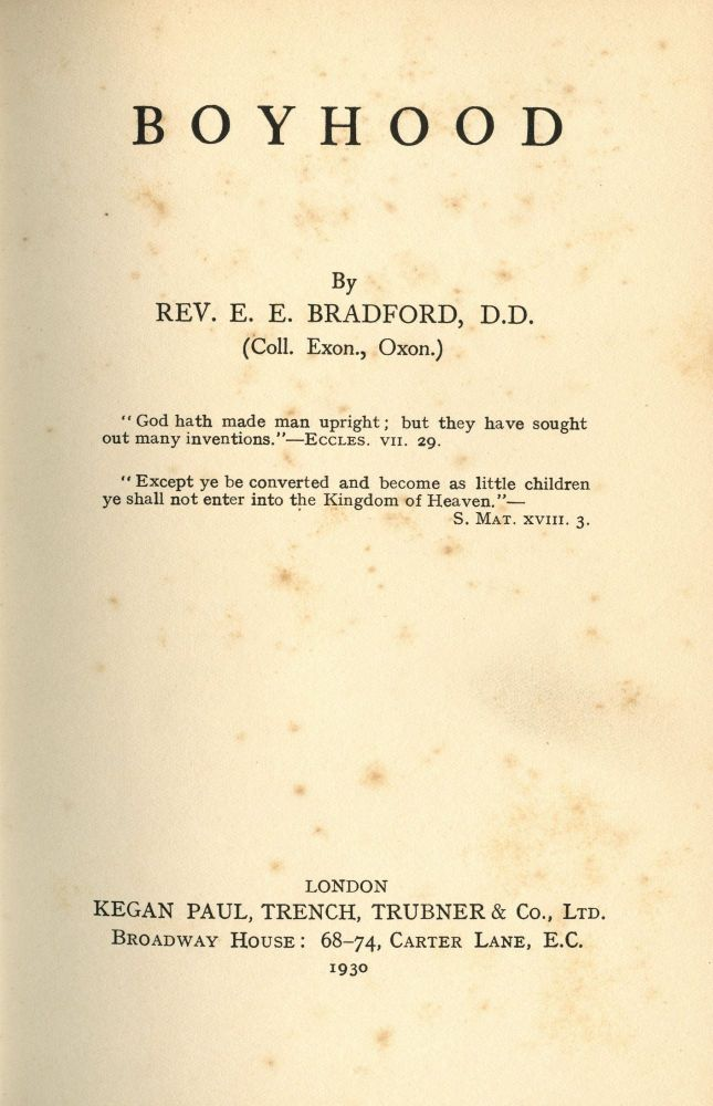Boyhood. E. E. BRADFORD, Rev.