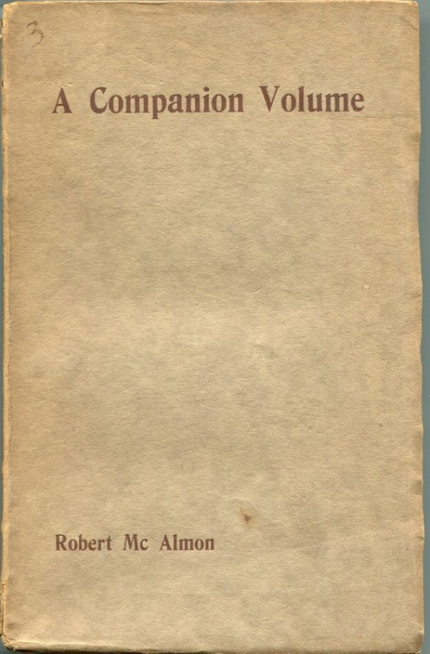 A Companion Volume. Robert McALMON.