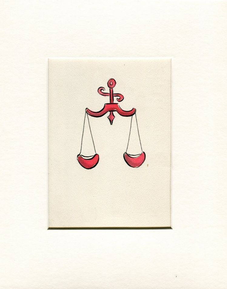 """Astrological sign (Libra) pen and ink (5.5"""" x 6.5"""") mounted. Exhibited Museum of Sex, 2011. Sam STEWARD."""