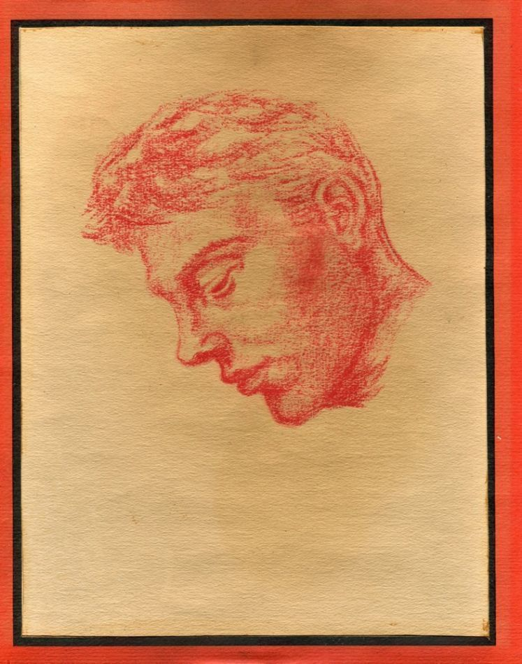 "Profile of man's head, red pencil on paper (7.75"" x 10"") framed. Sam STEWARD."
