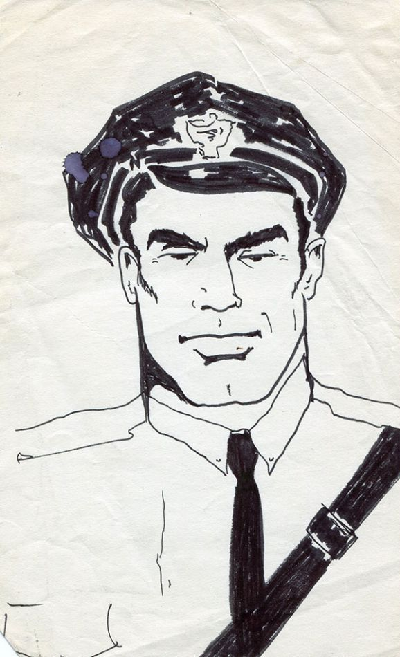 "Policeman, ink sketch on paper (5"" x 8.5""). Sam STEWARD."