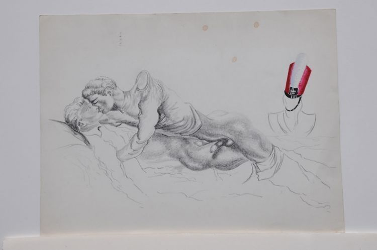 "Pencil drawing of two recumbent men with colored soldier's cap on statue (16 x 12""), slight spotting, signed ""Sam Steward"" on verso, ""ISR"" stamp, dated ""21-IX-52"" Sam STEWARD."