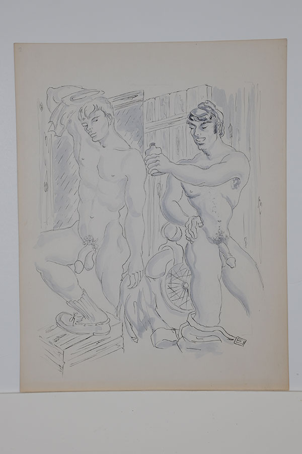 """The Barn series: Two Men standing, ink and gouache (11"""" x 14""""), signed """"Sam Steward"""" on verso. Sam STEWARD."""