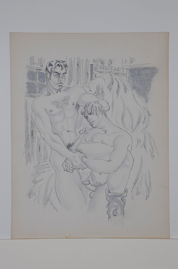 "The Barn series: Two nude men with erections, forced fellatio, ink and gouache (11"" x 14""), signed ""Sam Steward"" on verso. Sam STEWARD."