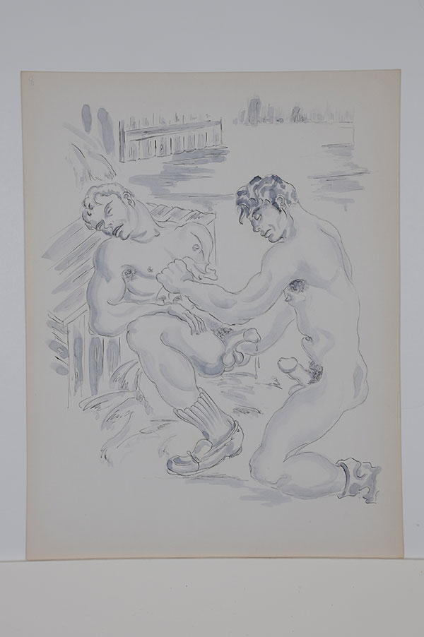 "The Barn series: Two nude men with erections, one recumbent with eyes closed, ink and gouache (11"" x 14""), signed ""Sam Steward"" on verso. Sam STEWARD."