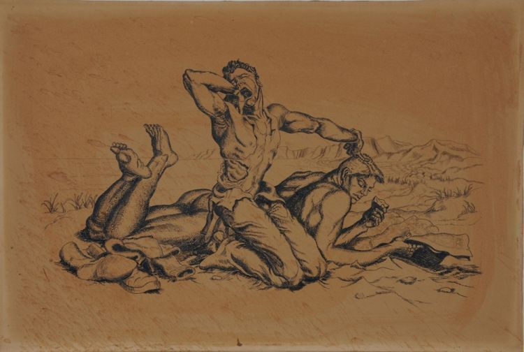 """Two men at the beach """"Copy of a Paul Cadmus,"""" pen and ink on board (16"""" x 10.75""""). """"ISR"""" stamp on verso, dated """"2-4-51"""". Light water stains.(Cf. Cadmus, Two Boys on a Beach, etching 1938). Sam STEWARD."""