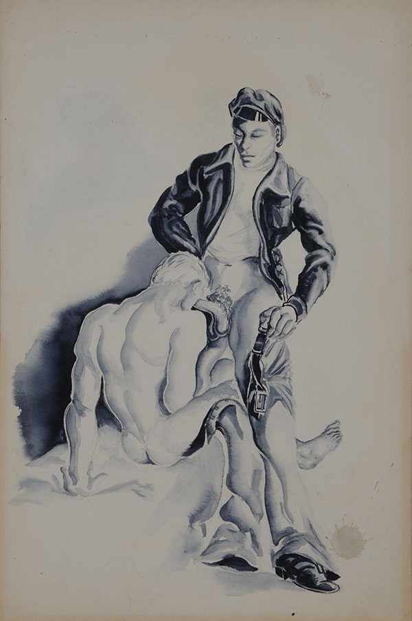 "Standing man with leather jacket and seated male nude, gouache on board (10"" x 15"") signed ""Sam Steward"" on verso and dated ""5-VII-53"" along with penciled notations (""Embarcadero""). Small water stain bottom right corner. Sam STEWARD."