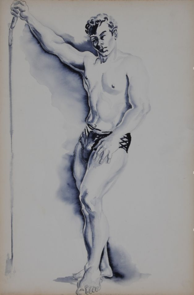 "Standing man with arm raised, gouache on board (10"" x 15""). Note on verso on hand of Sam Steward: ""Art Institute- Chicago/1953/Salcia Bahnc/instructor). Sam STEWARD."