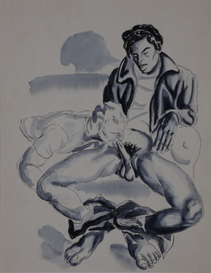 "Seated man wearing leather jacket (fellatio). gouache on paper (10.75"" x 14""). Dated ""3-2'63"" on verso with ""OK-SMS"" stamp. Matted. Exhibited Museum of Sex, 2011. Sam STEWARD."