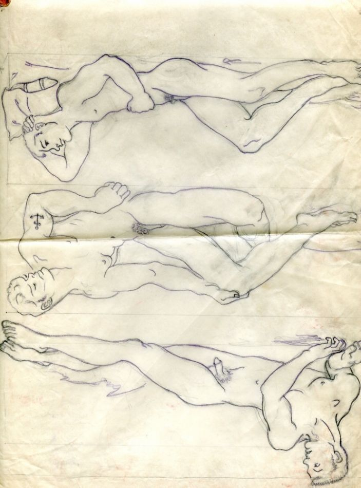 "Three pencil drawings of nude men on tracing parchment (11"" x 14""). Folded with light tape residue. Matted. Exhibited at Museum of Sex, 2011. Sam STEWARD."
