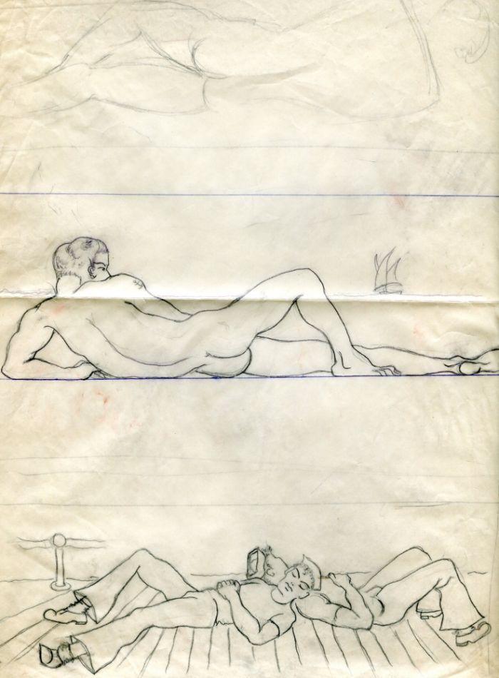"Reclining nudes, pencil drawings on tracing parchment (10.5"" x 13""). Matted. Folded, light damage. Exhibited at Museum of Sex, 2011. Sam STEWARD."