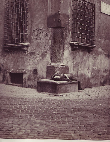 "Recumbent man, Vicolo di S. Simeone, Rome. (12"" x 12""). Photographer's notation on verso (1958). Islay LYONS."