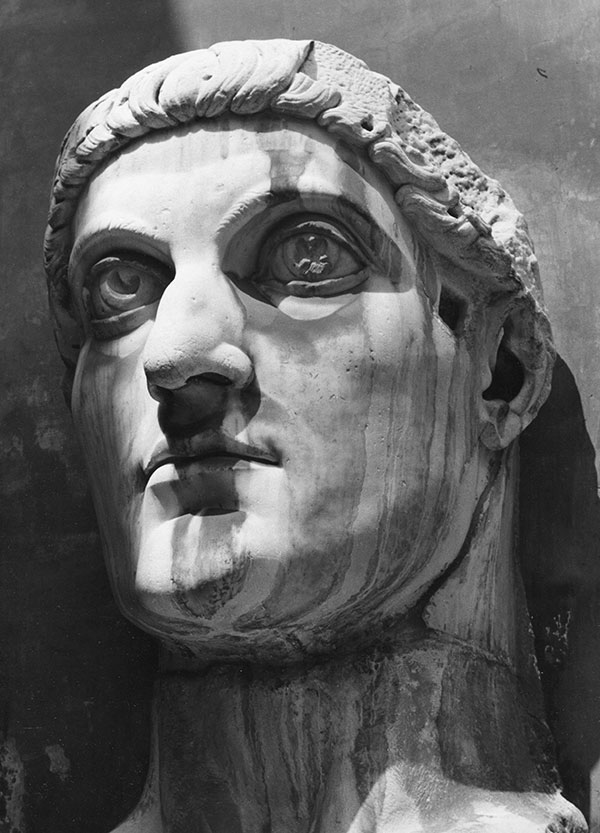 "Head of Constantine, Palazzo dei Conservatori, Rome. (9.5"" x 12""). Photographer's stamp on verso and penned notations. Islay LYONS."