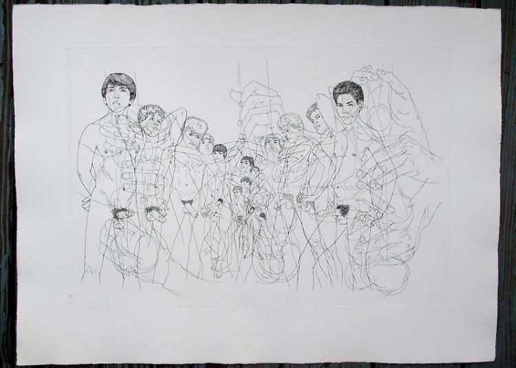 "Naked youths. Original etching of classical Greek scene for an unpublished book project (30"" x 22""). CZANARA, Raymond Carrance."