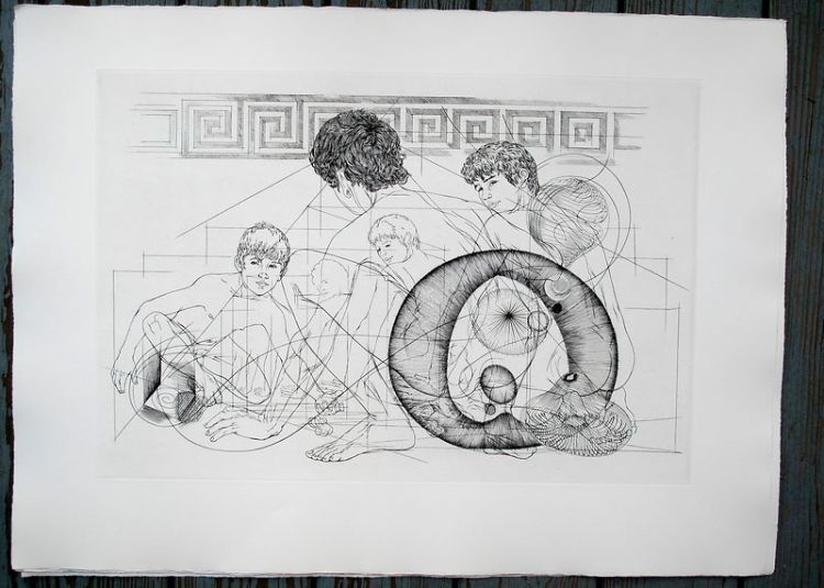 "Boys crouching. Original etching of classical Greek scene for an unpublished book project (30"" x 22""). CZANARA, Raymond Carrance."