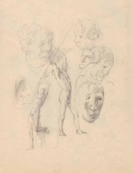 """Figure studies, pencil sketches. With drawing and artist's stamp on verso. (8.25"""" x 12.5'). Pavel TCHELITCHEW."""
