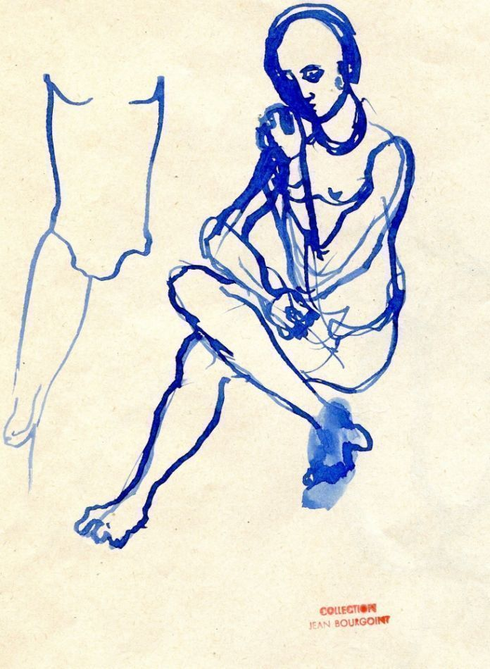 Ink drawing of seated figure, from the collection of Jean Bourgoint. Christian BERARD.