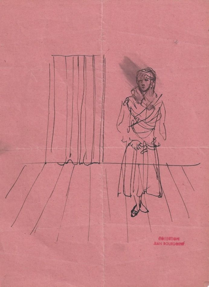 Woman standing before a curtain. Christian BERARD.