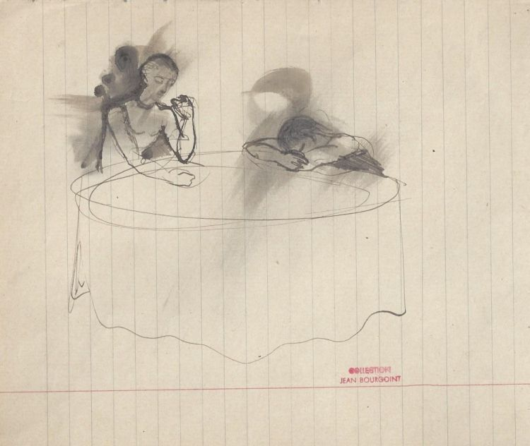 Two figures at table, from the collection of Jean Bourgoint. Christian BERARD.