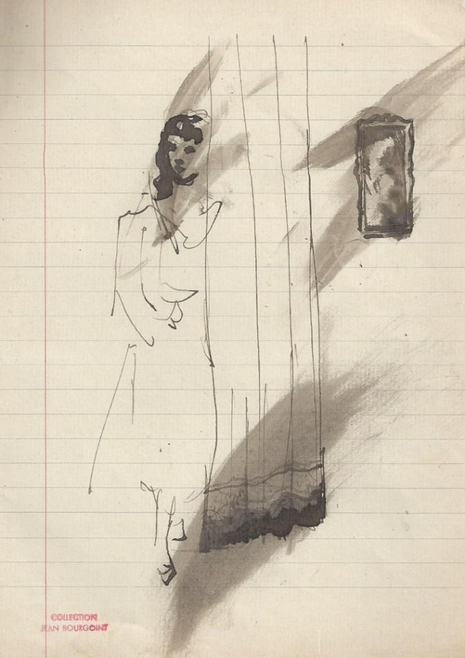 Woman at curtain, with frame in background. From the Jean Bourgoint collection. Christian BERARD.