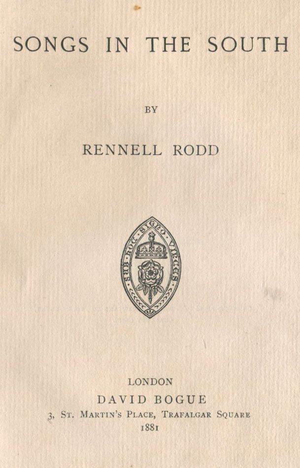 Songs in the South. Rennell RODD.
