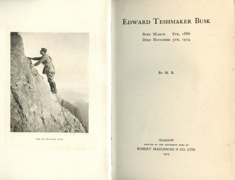 Edward Teshmaker Busk; born March 8th, 1886, died November 5th, 1914. M. Busk, World War I. memorial book.