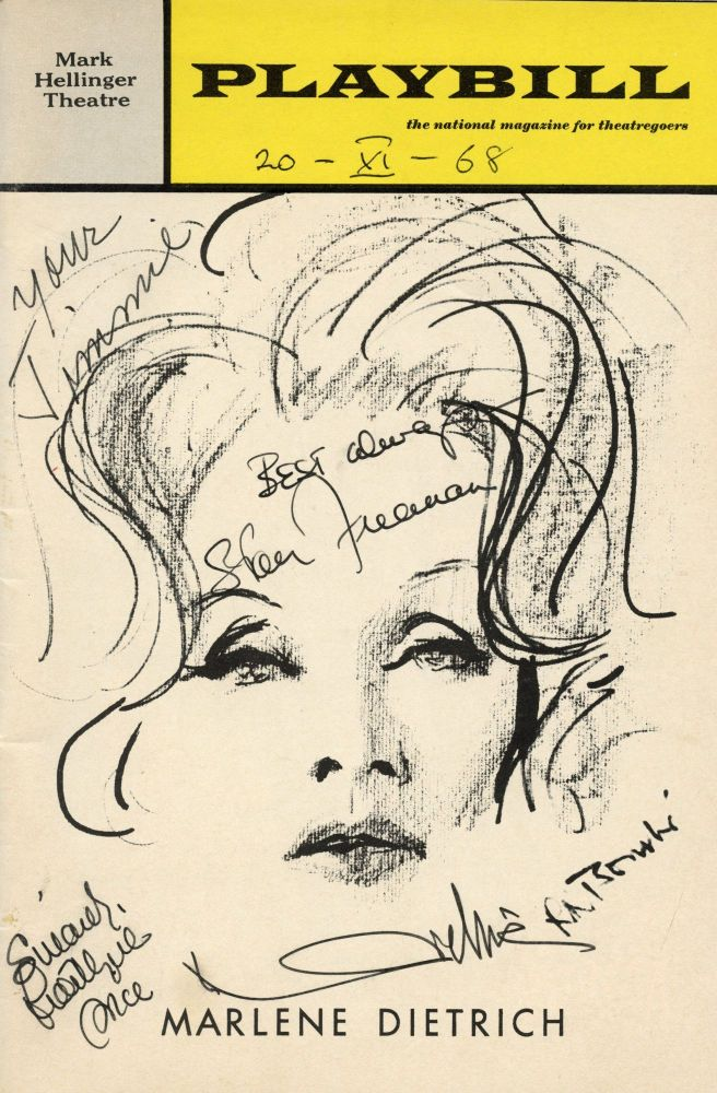 "Playbill from the November 20, 1968 production of Alexander Cohen's ""Marlene Dietrich"" Marlene DIETRICH."