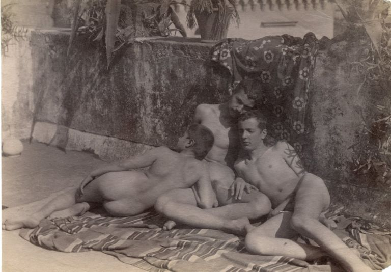 Three male nudes on veranda. Wilhelm VON PLUSCHOW, attrib.