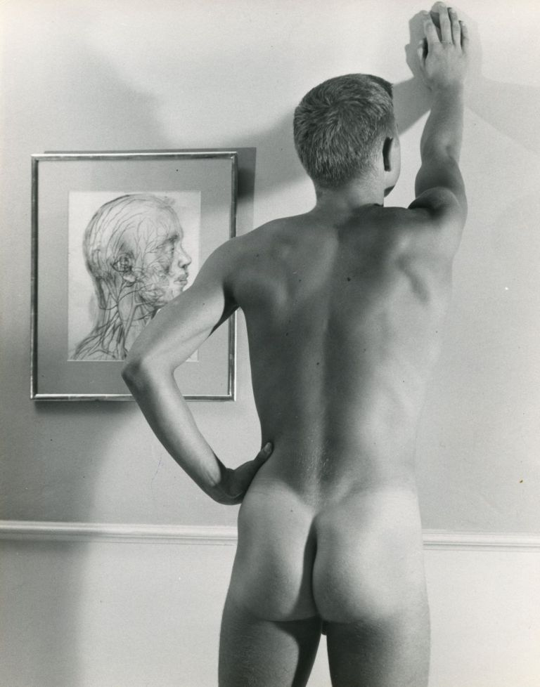 Male nude with Tchelitchew painting. MALE NUDE.