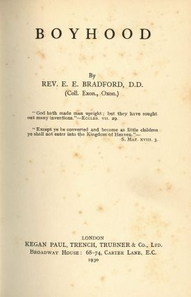 Boyhood. E. E. BRADFORD, Rev