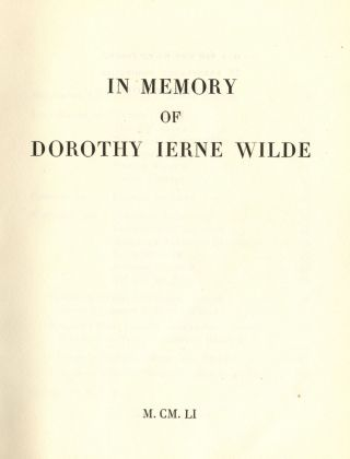 In Memory of Dorothy Ierne Wilde- Oscaria. Dolly WILDE