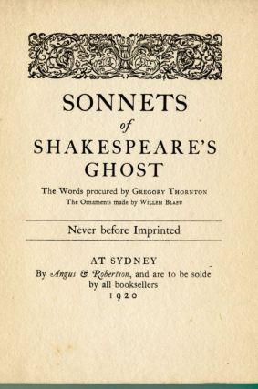 Sonnets of Shakespeare's Ghost. ANONYMOUS