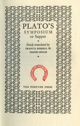 Plato's Symposium or Supper. Shane Leslie Plato, introduction