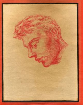 "Profile of man's head, red pencil on paper (7.75"" x 10"") framed. Sam STEWARD"