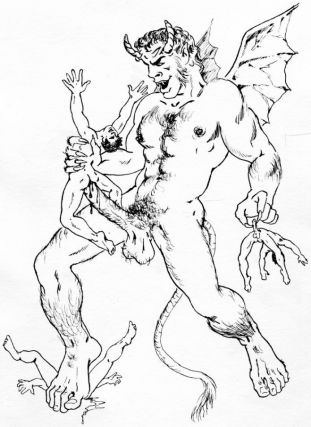 "A Horrible Wild Monster Caught in Palestine"" wax pencil on paper (30"" x 40""). Matted. Sam STEWARD."