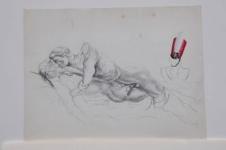 "Pencil drawing of two recumbent men with colored soldier's cap on statue (16 x 12""), slight..."