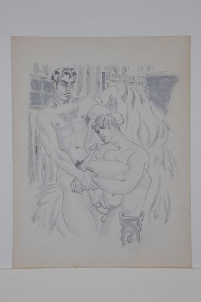 "The Barn series: Two nude men with erections, forced fellatio, ink and gouache (11"" x 14""),..."