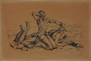 "Two men at the beach ""Copy of a Paul Cadmus,"" pen and ink on board (16"" x 10.75""). ""ISR"" stamp on..."