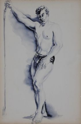 "Standing man with arm raised, gouache on board (10"" x 15""). Note on verso on hand of Sam Steward:..."