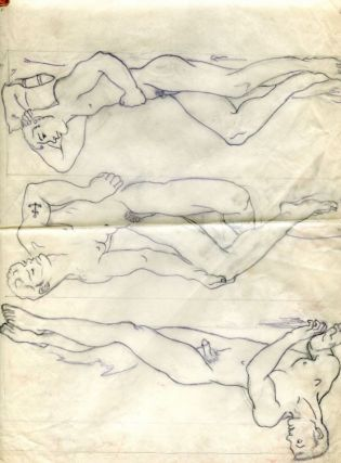 "Three pencil drawings of nude men on tracing parchment (11"" x 14""). Folded with light tape..."