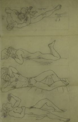 Three pencil drawings of recumbent men (one eating grapes) with another image on verso. Tracing...