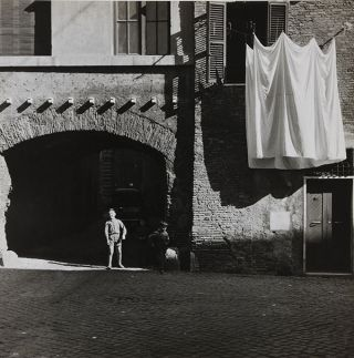 "Boy with hanging sheets (11.5"" x 11.5""). Penned notations on verso (1958)."