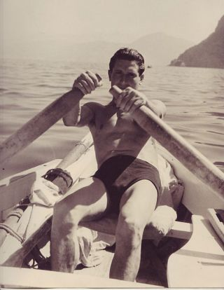 "Young man rowing, Capri (9"" x 12""). Photographer's stamp on verso. Islay LYONS."