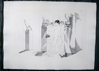 "Original etching of classical Greek scene for an unpublished book project (30"" x 22""). CZANARA,..."