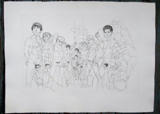 "Naked youths. Original etching of classical Greek scene for an unpublished book project (30"" x..."