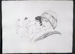 "Study of boys. Original etching of classical Greek scene for an unpublished book project (30"" x 22""). CZANARA, Raymond Carrance."