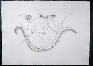 Two nude men from behind. Original etching of classical Greek scene for an unpublished book...