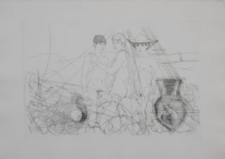 "Three men with erections. Original etching of classical Greek scene for an unpublished book project (30"" x 22""). CZANARA, Raymond Carrance."