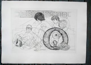 "Boys crouching. Original etching of classical Greek scene for an unpublished book project (30"" x..."